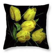 Yellow Tulips Throw Pillow