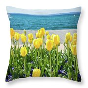 Yellow Tulips Near Lake Throw Pillow