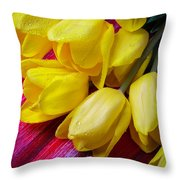 Yellow Tulips With Dew Drops Throw Pillow