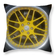 Yellow Vette Wheel Throw Pillow