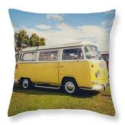 Yellow Vw T2 Camper Van 02 Throw Pillow