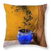 Yellow Wall, Blue Pot Throw Pillow