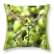 Yellow Warbler In A Tree 2 Throw Pillow