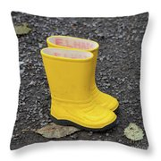 Yellow Wellies Throw Pillow