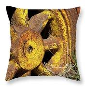 Yellow Wheel Throw Pillow