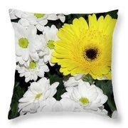 Yellow White Flowers Throw Pillow