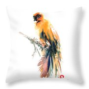 Yellow Wild Bird Throw Pillow