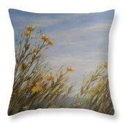 Yellow Wildflowers In The Sea Breeze Throw Pillow