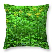 Yellow Wildflowers Throw Pillow