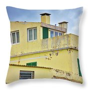 Yellow Worn Out Concrete House Throw Pillow