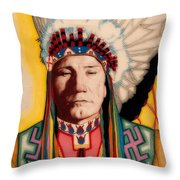 Yellowhead, A North America Indian Medical Practitioner Throw Pillow