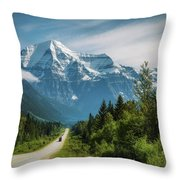 Yellowhead Highway In Mt. Robson Provincial Park, Canada Throw Pillow
