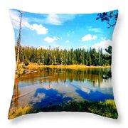 Yellowstone Lake In Summer Throw Pillow