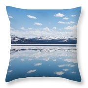 Yellowstone Lake Reflection Throw Pillow