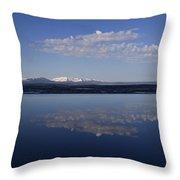 Yellowstone Lake Reflection-signed-no Bird Throw Pillow