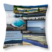 Yellowstone Park August Panoramas Collage Throw Pillow