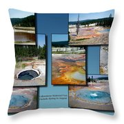 Yellowstone Park Firehole Spring In August Collage Throw Pillow