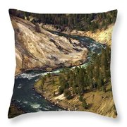 Yellowstone River Canyon Throw Pillow