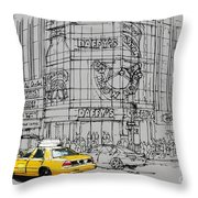Yelow Cab On New York Streets Throw Pillow