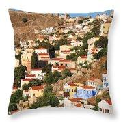 Yialos Town On Symi Island Throw Pillow