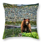 Yikes, It's A Grizzly Throw Pillow