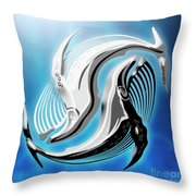 Yin And Yang Whale Throw Pillow