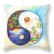 Yin Yang Spring And Autumn Throw Pillow