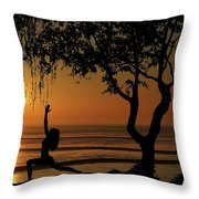 Yoga By The Bay At Sunset Throw Pillow