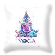 Yoga Meditation Watercolor Print Throw Pillow