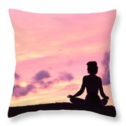 Yoga On Beach Throw Pillow