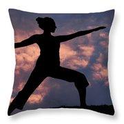 Yoga Sunset Throw Pillow