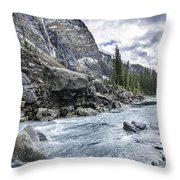 Yoho River At Takakkaw Falls Throw Pillow