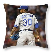 Kansas City Royals, Yordano Ace Ventura,  Painting, Forever Blue Throw Pillow