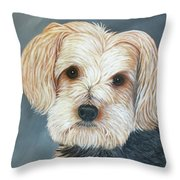 Yorkie Portrait Throw Pillow by Karen Zuk Rosenblatt