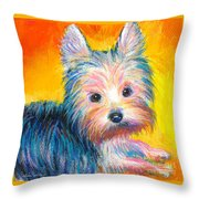Yorkie Puppy Painting Print Throw Pillow