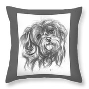 Yorkiepoo Throw Pillow