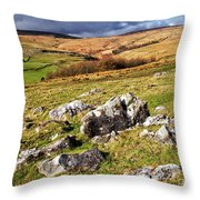 Yorkshire Dales Limestone Countryside Throw Pillow