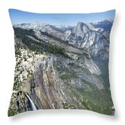 Yosemite Falls And Valley From Eagle Tower Detail - Yosemite Throw Pillow