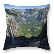 Yosemite Falls And Valley From Eagle Tower - Yosemite Throw Pillow