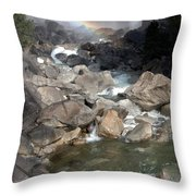 Yosemite Falls Rainbow Throw Pillow