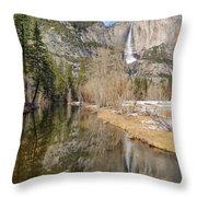 Yosemite Falls Reflection Throw Pillow