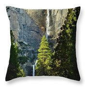 Yosemite Falls With Late Afternoon Light In Yosemite National Park. Throw Pillow