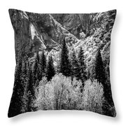 Yosemite Meadow In Black And White Throw Pillow