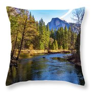 Yosemite Merced River With Half Dome Throw Pillow