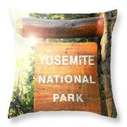 Yosemite National Park Sign Throw Pillow