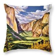 Yosemite National Park Vintage Poster Throw Pillow
