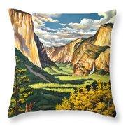 Yosemite Park Vintage Poster Throw Pillow