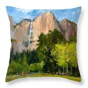 Yosemite - Ribbon Falls Throw Pillow