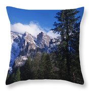 Yosemite Three Brothers In Winter Throw Pillow