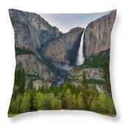 Yosemite Upper And Lower Falls Throw Pillow